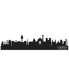 Lisbon Portugal skyline Detailed silhouette vector image vector image
