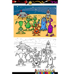 cartoon ufo aliens group coloring page vector image vector image
