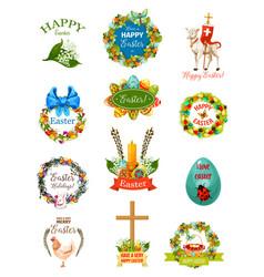 easter cartoon label and badge set design vector image