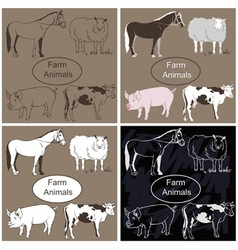 Farm animals on dark background vector image vector image