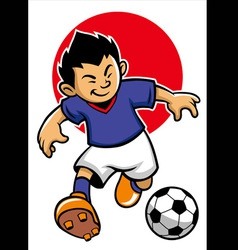 japan soccer player with japan flag background vector image vector image