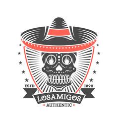 los amigos vintage isolated label with skull vector image
