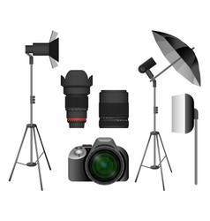 modern camera with lenses and lighting equipment vector image vector image