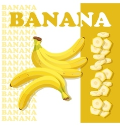 Rpe banana and slices flat style healthy food vector
