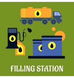 Storage transportation and filling station icons vector image