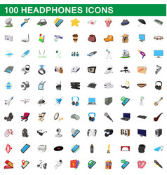 100 headphones icons set cartoon style vector image