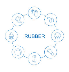 8 rubber icons vector