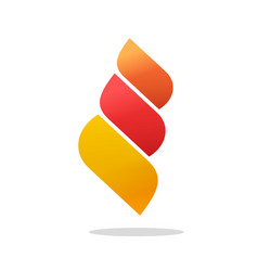 Abstract fire flame logo as 3 energy gradient red vector