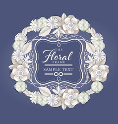 abstract white floral wreath with vintage border vector image