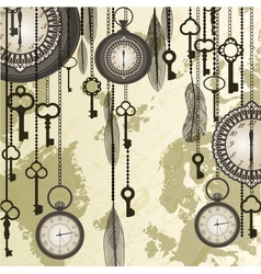 Antique background with grungy map and clocks vector