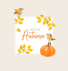 autumn fall greeting card invitation with birds vector image