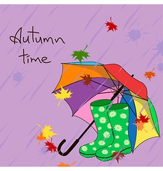 Background with umbrella and gumboots vector