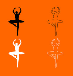 Ballet dancer black and white set icon vector