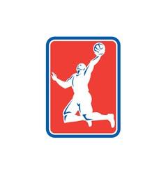 Basketball Player Rebounding Lay-Up Ball Rectangle vector image