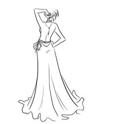 Beautiful lady in long dress vector image