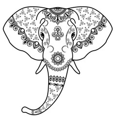 black and white elephants head in mehndi indian vector image