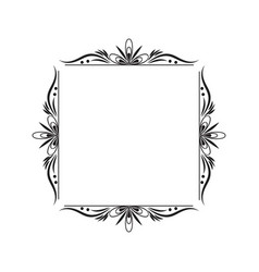 Black contour vintage classic square frame vector