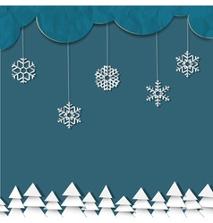 blue background with paper snowflakes vector image