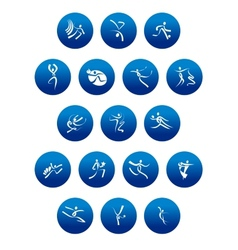 Blue round icons with white sportsman silhouettes vector image