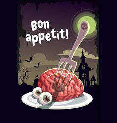 Bon appetit scary halloween poster with creepy vector