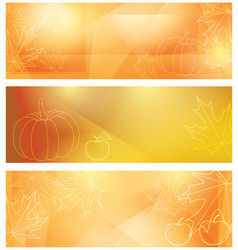 bright backgrounds with maple leaves and pumpkin vector image