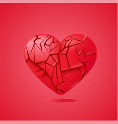 broken heart sealed isolated red glass shards vector image