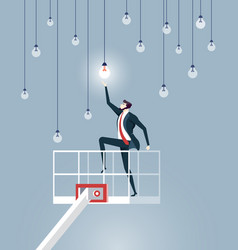 businessman lifting by crane to reach light bulbs vector image