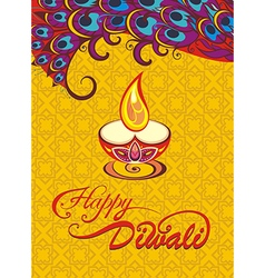 Card design for Diwali festival with lamp vector