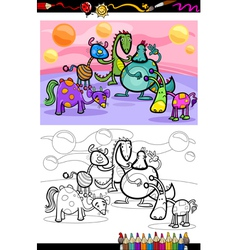 cartoon fantasy group coloring page vector image