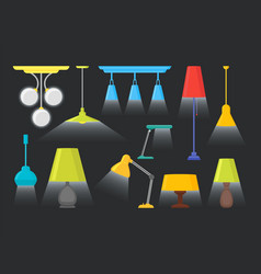 cartoon home illumination lamp color set vector image