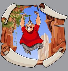 cartoon joyful man in a jump on the background of vector image