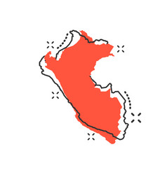 cartoon peru map icon in comic style peru sign vector image