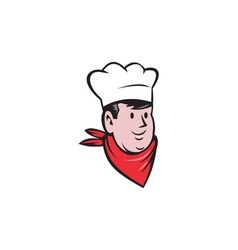 Chef Cook Baker Head Scarf Cartoon vector image vector image