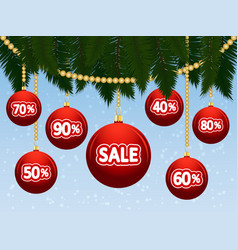 christmas sales with branches and balls discounts vector image