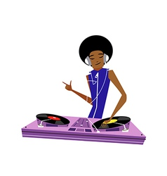 Close-up of man playing DJ vector image