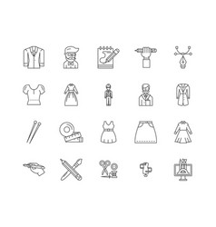 clothing designer line icons signs set vector image