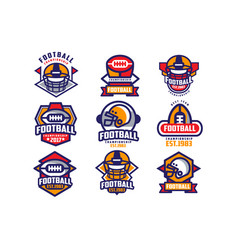 collection colorful american football logo vector image