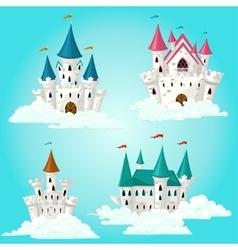 Collection of cartoon fairytale castle vector