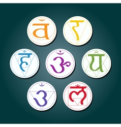 Color icons with names chakras in sanskrit vector