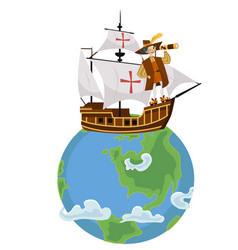 Columbus day poster with columb sailing on ship vector