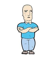 Comic cartoon annoyed bald man vector