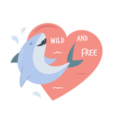 cute smiling white shark and seagull design vector image