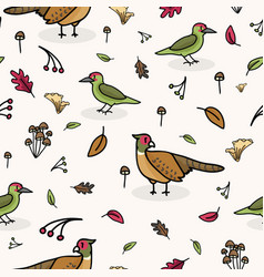 cute woodpecker and pheasant cartoon seamless vector image