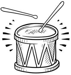 doodle drum cool vector image