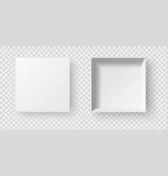 empty open white square pack box with shadow vector image