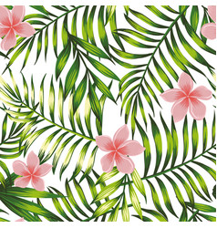 Exotic wallpaper tropical leaves and flowers vector