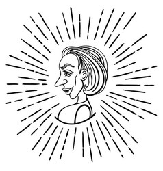 female profile in doodle style vector image