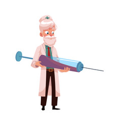 flat grey-haired doctor holding syringe vector image