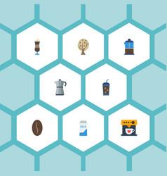 Flat icons mocha beverage moka pot and other vector