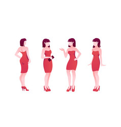 Flat poses set young woman character with red vector